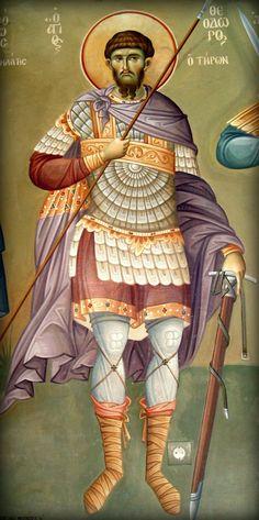 Άγιος Θεόδωρος Τήρων / Saint Theodore Tiro Byzantine Icons, Orthodox Icons, Religious Art, Crochet Baby, Saints, Religion, Blessed, Costumes, Painting