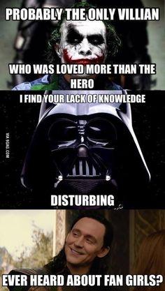funny-Joker-Vader-Loki-fan-girls batman Star Wars thor the avengers Oboe, Trombone, Disfraz Darth Vader, Image Cinema, Be My Hero, Pokerface, I Am Batman, Star Wars Darth, Darth Maul
