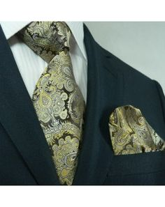 TheDapperTie - Brown Paisley Silk Tie & Handkerchief Set