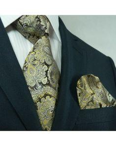 TheDapperTie - Brown Paisley Silk Tie & Handkerchief Set