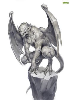 The History of Gargoyles & Grotesques (Facts, Information, Pictures - Gargoyle (French/British) – They ward of evil spirits from churches and the streets. Fantasy Monster, Monster Art, Dark Fantasy Art, Dark Art, Fantasy Rpg, Gargoyle Tattoo, Gargoyle Drawing, Rock Tattoo, Demon Tattoo