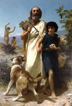 Homere et son guide-William Adolphe Bouguereau (1825 – 1905, French)