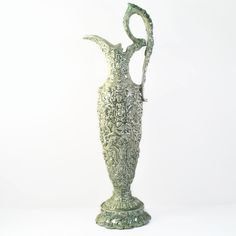 New to VintageVybe on Etsy: The Green Man Tall Pitcher Vase - Wiccan Decor - Celtic Decor - Magickal Decor - Ornate Green Ceramic Pitcher Vase (125.00 USD)