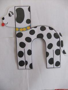Zelfgemaakt alfabet letter h. hond