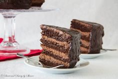 For serious chocolate lovers! This decadent chocolate cake with chocolate mousse filling is THE thing to satisfy your chocolate craving! - the chocolate mousse looks amazing! Cupcakes, Cupcake Cakes, Decadent Chocolate Cake, White Chocolate, Chocolate Filling, German Chocolate, Delicious Chocolate, Chocolate Ganache, Cake Recipes