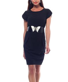 Take a look at this Black Butterfly-Belt Shaper Dress by NUE by Shani on #zulily today! Wish I could just get the belt