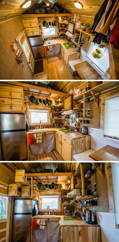 This tiny house kitchen includes beetle kill wood counters and cabinets, an apartment size refrigerator, and a three burner cooktop.