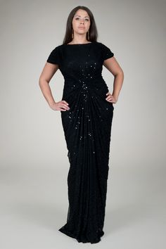 Red Carpet Sequin Gown in Black - Plus Size Evening Shop | Tadashi Shoji