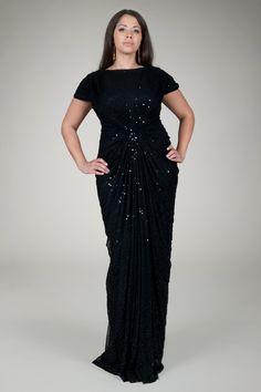 Red Carpet Sequin Gown in Black - Plus Size Evening Shop | Tadashi Shoji