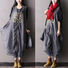 Women autumn two-pieces cotton and Silk long sleeve loose dress