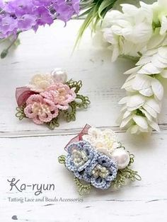 Tatted 3D flower brooch «Ka-ryun ~ Tatting of accessories. Beads and ribbon. ©️Ka-ryun.