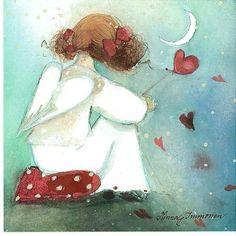 Illustration by by Minna Immonen Illustrations, Illustration Art, I Believe In Angels, Finding Neverland, Angels Among Us, Angel Art, Heart Art, Whimsical Art, Folk Art