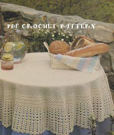 Vintage 1990's Round Tablecloth Crochet PDF by KatnaboxCrochet