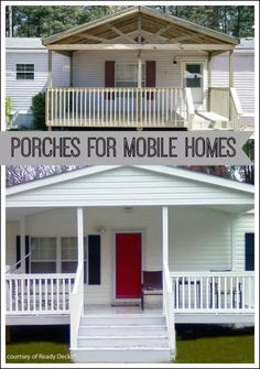 manufactured home porch ideas Mobile home repair help, remodeling ideas, and decorating inspiration. Mobile Home Redo, Mobile Home Porch, Mobile Home Exteriors, Mobile Home Renovations, Mobile Home Makeovers, Mobile Home Living, Mobile Home Decorating, Remodeling Mobile Homes, Home Remodeling
