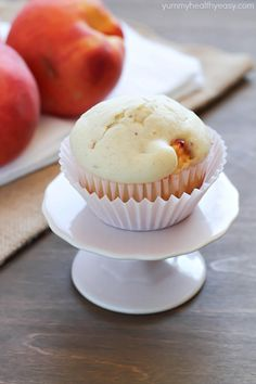 Peach Muffins -easy homemade muffins filled with chunks of peach. The best breakfast or snack!