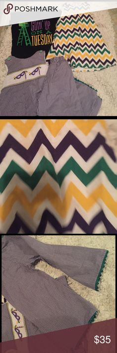 Toddler outfits Nola themed Mardi Gras attire..BE READY FOR MARDI GRAS 2018...one unisex tee(2t)(goin up on a Tuesday), smocked 2 piece(12m), chevron print dress(18/24m)...see light staining on dress and smocked top! Pants fit loose like a boot cut Matching Sets