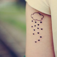 110 Amazing Cloud Tattoos For Men And Women nice Arm Tattoos, Love Tattoos, Tattoos For Guys, Tattoos For Women, Rain Cloud Tattoos, Rain Tattoo, Cloud Tattoo Design, Tatto Design, Ideas Geniales