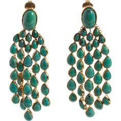 Aurélie Bidermann Turquoise Cherokee Long Drop Earrings ($1,145) ❤ liked on Polyvore