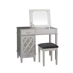 Coaster Home Furnishings 2-Piece Vanity Set with Hidden Mirror Storage and Lift-Top Stool White 300290ii - The Home Depot