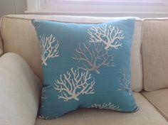 Aqua Blue Coral Throw Pillow Sea Fan Pillow by ByTheSeashoreDecor