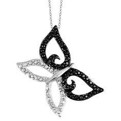 Women's Sterling Silver Accent Round-Cut Black and White Diamond Prong Set Butterfly Pendant