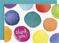 A whimsical, colorful thank you note featuring our exclusive watercolor dots design. Fun to send in the mail or pair with a - 4 Bar folded cards 3 x 4 - 4 Bar peaco Thank U Cards, Thank You Cards From Kids, Handmade Thank You Cards, Greeting Cards Handmade, Watercolor Birthday Cards, Watercolor Cards, Watercolor Design, Watercolor Ideas, Watercolor Drawing