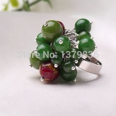 Find More Rings Information about Summer Lovely Style Round Green Jade and Glaze Beads Adjustable Ring,High Quality Rings from Lucky Fox Jewelry on Aliexpress.com