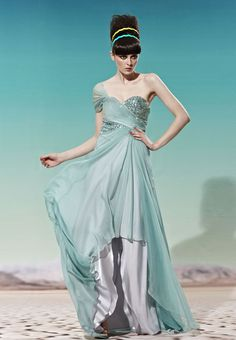 Green One Shoulder Sweetheart Neck Ball Gown Cocktail Party Dress $251