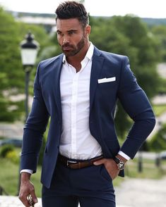 Power outfit 🙌 link in bio Mens Fashion Suits, Mens Suits, Stylish Men, Men Casual, Smart Casual, Blue Suit Men, Blue Suits, Blazer Outfits Men, Costume Sexy