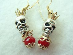 Halloween Skull Earrings. Skull King! Skull Topped by a Crown. Lovely Red Bead! FREE U.S. SHIPPING! Day of the Dead. Dia de los Muertos. by MuchAdoAboutJunkin on Etsy