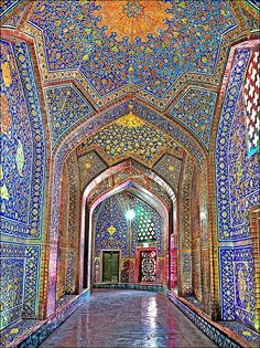 Mosque in Isfahan- very similar architecture and color scheme to the Christian cathedral in the same city, but of course no living thing is represented in the mosaics.