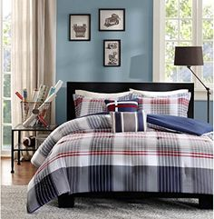 Clean and energetic plaid in Ithe Intelligent Design Harper Duvet Cover Set. The taupe and blue vertical stripes work their way down the duvet cover and meet red vertical stripes on a blue base for a unique design. Boys Comforter Sets, Plaid Comforter, Teen Girl Bedding, Striped Bedding, Twin Xl Bedding, Queen Comforter Sets, Duvet Sets, Duvet Cover Sets, King Comforter