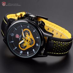 Brand New SHARK Sport Watch Date Day 24 Hours Dashboard Steel Case Leather Band Black Yellow Men's Quartz Wrist Watches