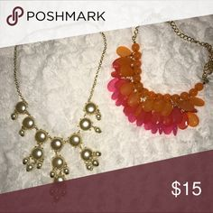 Statement Jewelry Great condition!!! Pearl bubble necklace and pretty orange/pink necklace; Pieces for any outfit!!! //Will negotiate individual prices\\ Jewelry Necklaces