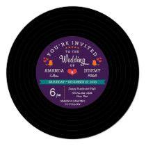 Modern Retro Vinyl Record Purple & Aqua Wedding Invitation Retro Wedding Invitations, Aqua Wedding, Promotion Code, Modern Retro, Cool Tools, Vinyl Records, Coding, Purple, Vintage Wedding Invitations