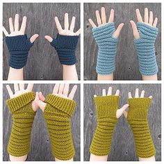 Ravelry: Gully Gloves pattern by Kelly McClure Crochet Arm Warmers, Crochet Mittens, Crochet Gloves, Wrist Warmers, Crochet Yarn, Loom Knitting, Knitting Stitches, Hand Knitting, Sewing Collars