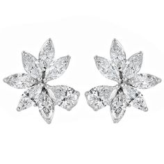 10.50 Carat Diamond Cluster Earrings | From a unique collection of vintage clip-on earrings at https://www.1stdibs.com/jewelry/earrings/clip-on-earrings/
