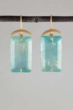 Gabriella Kiss: 18k Gold & Aquamarine Earrings
