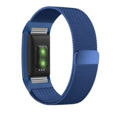 Fitbit Charge 2 Band, UMTELE Milanese Loop Stainless Steel Metal Bracelet Strap with Unique Magnet Lock, No Buckle Needed for HR Fitness Tracker Blue