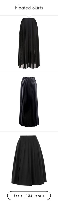 """Pleated Skirts"" by heloisacintrao ❤ liked on Polyvore featuring skirts, bottoms, pleated skirt, long pleated skirt, pleated maxi skirt, floor length skirt, long skirts, black, satin pleated skirt and elastic waist maxi skirt"