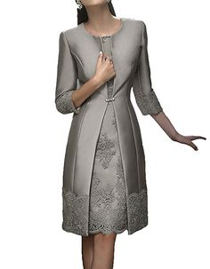 H.S.D Satin Mother of the Bride Dress Appliques Short Formal Gowns with Jacket at Amazon Women's Clothing store: