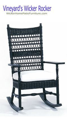 The Nantucket Wicker Rocker is the ultimate in relaxation. It features a high back, comfortable, generous seat and flat wooden paddle arms. Cottage Furniture, Wicker Furniture, Custom Furniture, Baby Furniture, Furniture Ideas, Wicker Rocker, Wicker Rocking Chair, Rustic Rocking Chairs, Cheap Furniture Stores