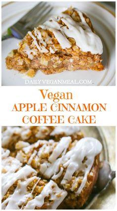 Apple Dessert Recipes, Vegan Breakfast Recipes, Delicious Vegan Recipes, Brownie Recipes, Chocolate Recipes, Chocolate Cake, Vegan Coffee Cakes, Apple Coffee Cakes, Cinnamon Coffee