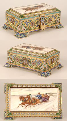 A Russian silver gilt, cloisonne, and en plein enamel casket, Artel… Art Nouveau, Art Deco, Antique Boxes, Pretty Box, Jewellery Boxes, Objet D'art, Russian Art, Little Boxes, Jewel Box