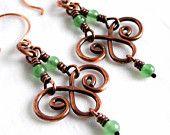 Pendientes Chandelier, joyería hecha a mano, cuentas de piedra verde, aventurina Pendientes de cobre Antiqued