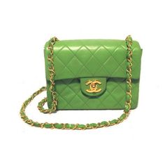 Vintage Chanel Lime Green Leather Mini Classic Single Flap Bag