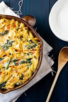 Baked Penne with Chicken and Kale. HOWEVER, add more flavor like with butter or more cheese or bacon :)
