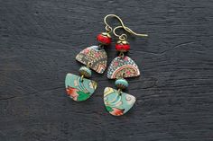 Mismatched Bohemian Patterned Vintage Tin Earrings with Turquoise Colored and Czech Beads and Antique Brass, Colorful Jewelry