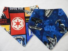 set of 2 star wars bandana-style drool bibs **** bibs for boys **** star wars baby bibs by SnazzyBoyClothing on Etsy