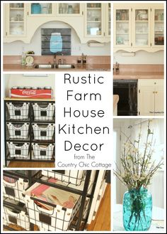 Get great rustic kitchen decor ideas here -- ideas on storage, decor and more all with a rustic twist!